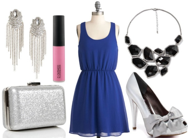 How to style a little blue dress for night with black statement necklace silver pumps glittery box clutch chandelier earrings and pink gloss