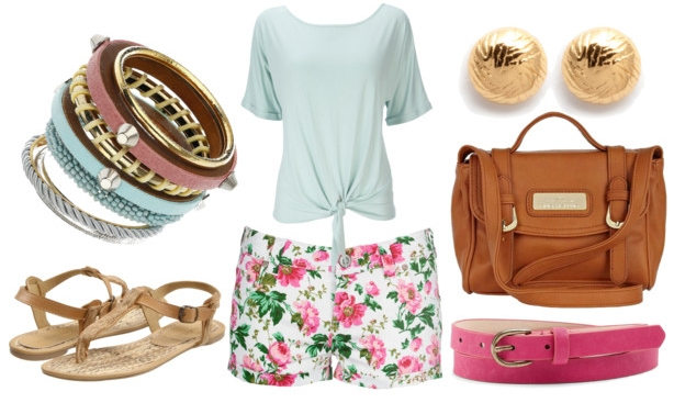 how to style a mint top for day with floral shorts pink belt bangles brown satchel gold sandals and gold stud earrings