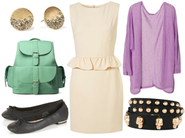 how to style a peplum dress for day with lavender cardigan skull waist belt mint backpack black ballet flats and gold studs