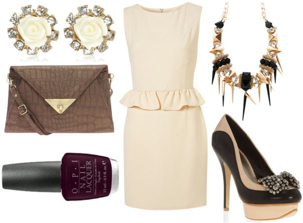 how to style a peplum dress for night with two toned bow heels snakeskin cross body bag gold clustered neckalce rose earrings and deep plum nails