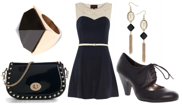 how to style a peter pan collar dress for night with black oxford heels spiked black crossbody bag pearl drop earrings and black stud ring