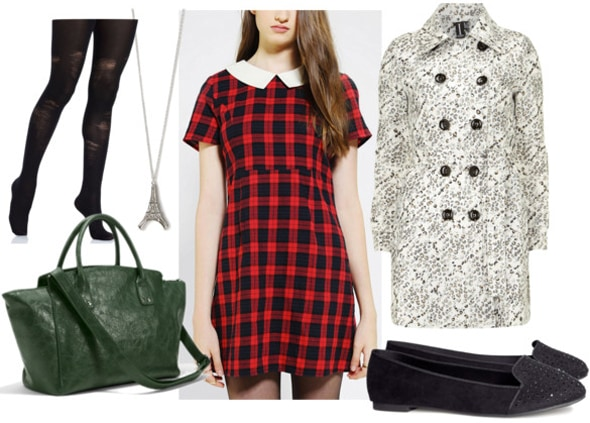 How to style a plaid babydoll dress for day