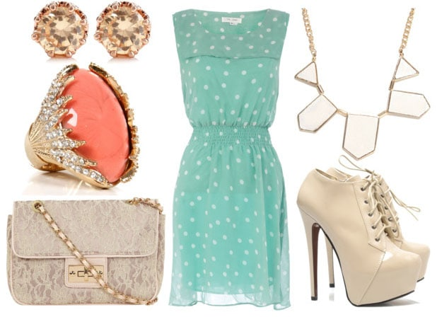 how to style a polka dot dress for night with nude ankle booties lace cross body bag geometric white necklace coral cocktail ring and leopard studs