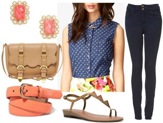 How to style a printed chambray top for day with dark skinny jeans coral belt tan satchel geometric sandals and coral studs