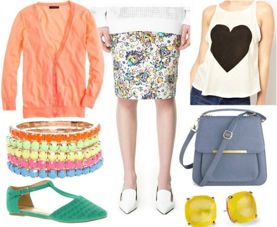 How to style a printed pencil skirt for day with heart cut off tank melon cardigan neon bangles soft blue bag emerald t strap sandals and yellow earrings