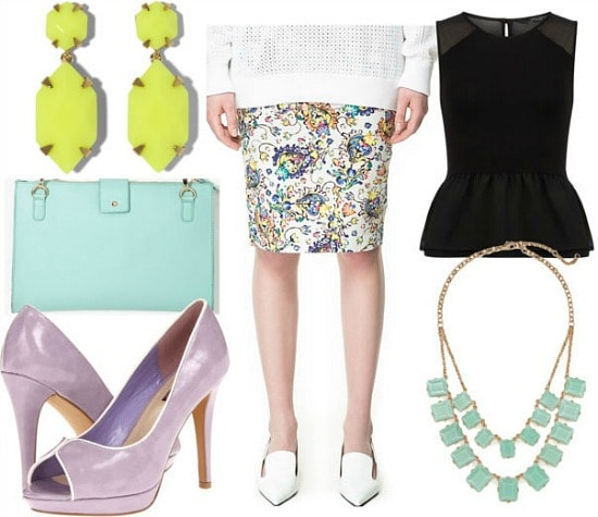 How to style a printed pencil skirt for night with black peplum top mint statement necklace mint clutch lavender pumps and neon drop earrings
