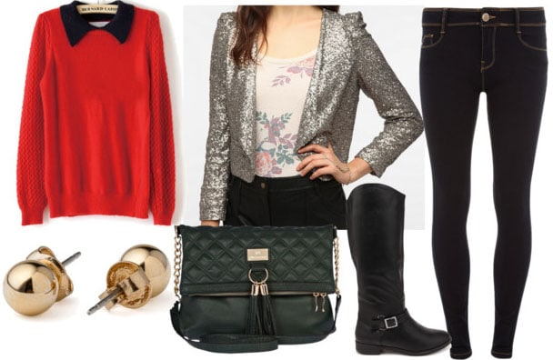 How to style a sequin blazer for day with red collared sweater skinny jeans black quilted messenger bag gold studs and black riding boots