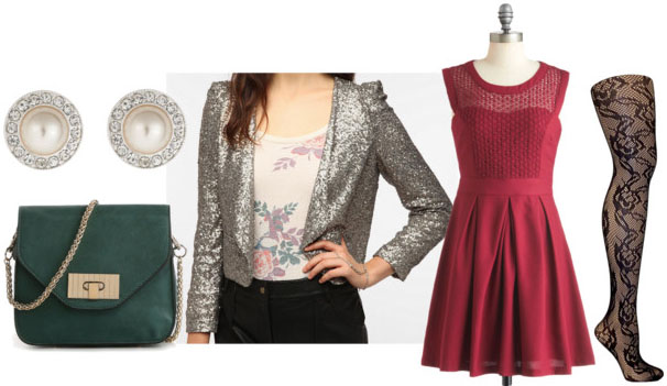 How to style a sequin blazer for night with red sheer front dress textured tights green cross body bag and pearl studs