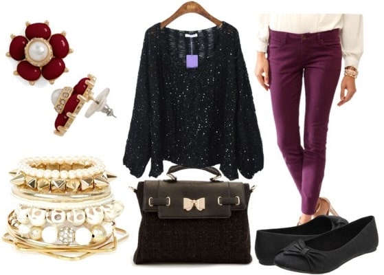 how to style a sequin sweater for class with purple pants black tote black bow flats spike and skull bangles and oxblood flower earrings