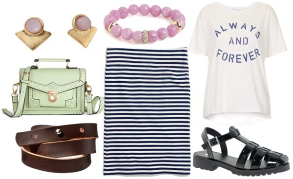 How to style a striped pencil skirt for day with graphic tee mint bag leather wrap bracelet lavender beaded bracelet and chunky black sandals