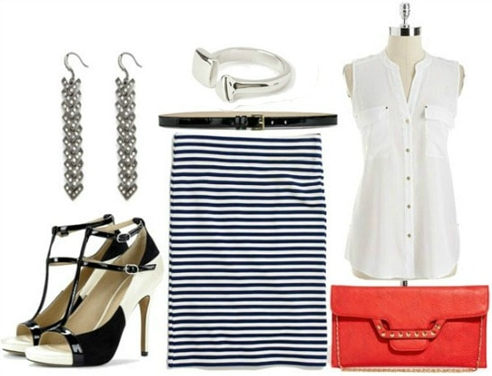 How to style a striped pencil skirt for night with white blouse red clutch black and white t strap sandals silver ring black waist belt and silver drop chains