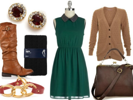 How to style a studded collar dress for day with textured cardigan brown satchel black tights tan riding boots leather bracelet and oxblood earrings