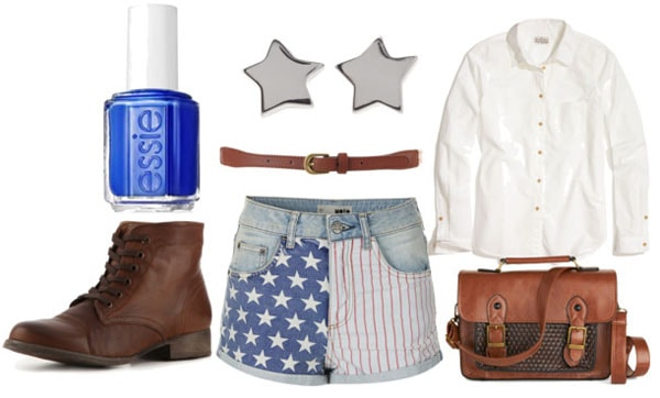 How to style american flag shorts for day with white oxford shirt brown ankle booties textured brown satchel brown belt cobalt nail polish and silver star studs