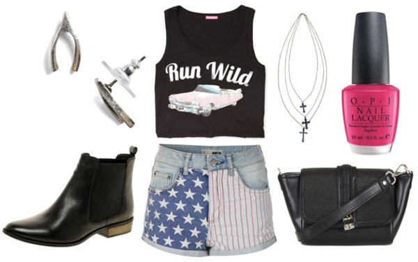 How to style american flag shorts for night with graphic crop top black ankle booties black crossbody bag wishbone earrings cross necklace and hot pink nail polish
