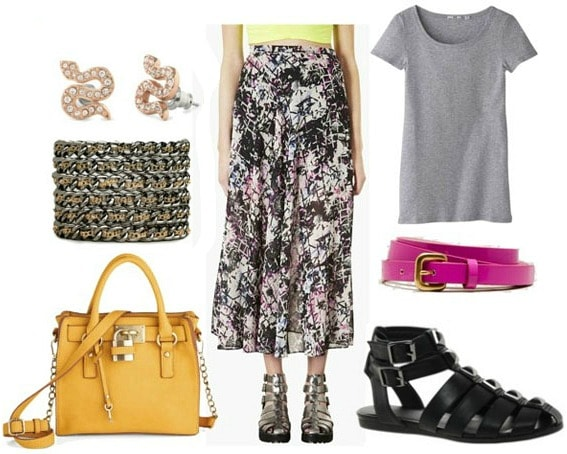 How to style an abstract print maxi skirt for daytime