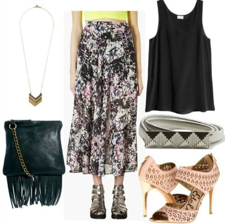 How to style an abstract print maxi skirt for nighttime