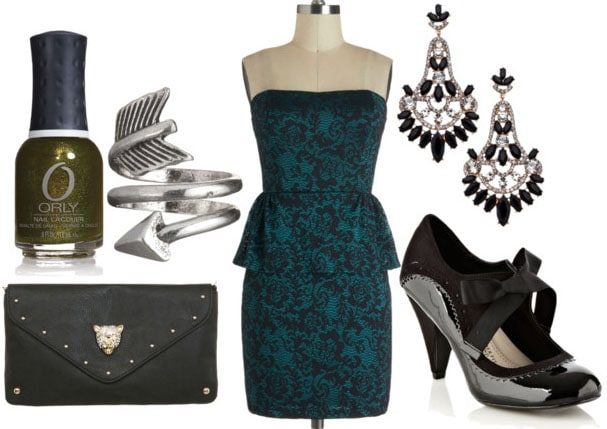 How to style an emerald peplum dress with oxford heels chandelier earrings arrow ring black clutch and green nail polish