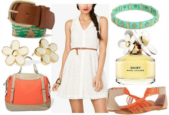 How to style an eyelet dress for day with turquoise detailed belt coral bag coral sandals daisy earrings and turquoise bangle