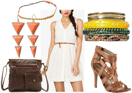 How to style an eyelet dress for night with brown cross body bag strappy brown sandal pumps coral triangle drop earrings gold hair band and colorful bangles