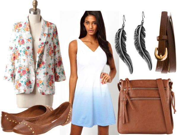 How to style an ombre dress for day with floral blazer brown snakeprint belt spiked flats brown satchel and silver feather earrings