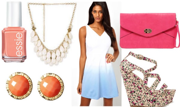 How to style an ombre dress for night with floral wedges pink cluch coral studs white teardrop statement necklace and melon nails