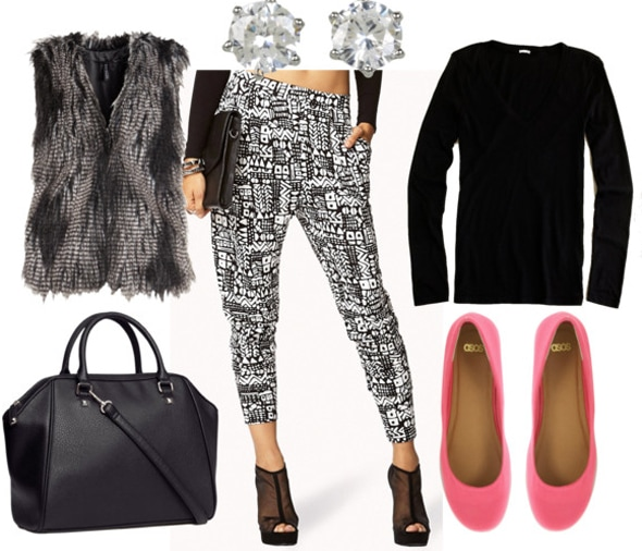 How to style black and white slouchy pants for day