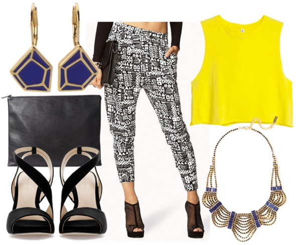 How to style black and white slouchy pants for night