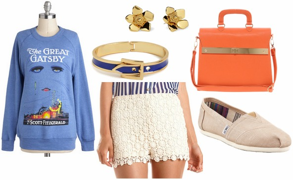 How to style crochet shorts for day with graphic sweatshirt orange shoulder bag beige toms blue buckle bangle and gold floral studs