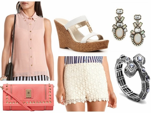 How to style crochet shorts for night with blush gem embellished collard shirt snake bangle pink wristlet white wedges and geometric drop earrings