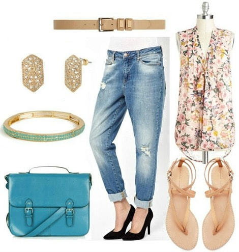 How to style distressed boyfriend jeans for day with floral blouse nude flip flops nude belt turquoise satchel turquoise bracelet and studded shield earrings