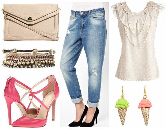 How to style distressed boyfriend jeans for night with necklace blouse pink cutout pumps ice cream earrings bangles and nude cross body bag