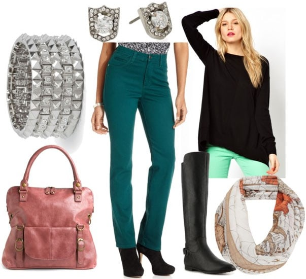 How to style emerald jeans for day with black sweater map print scarf riding boots pink bag silver bangles and silver shield studs