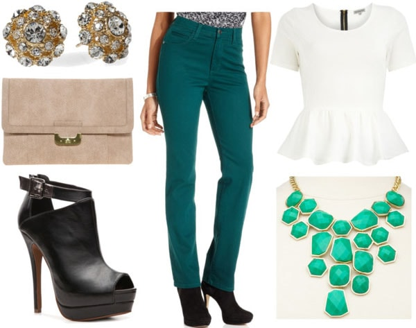 How to style emerald jeans for night with white peplum top green statement necklace black peeptoe booties tan clutch and crystal embellished studs