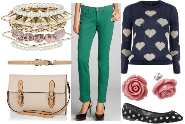 How to style emerald jeans with heart sweater polka dot flats rose earrings gold bangles tan belt and cream satchel