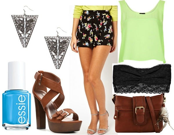 How to style floral culotte shorts for night with lime semi sheer crop top black bandeau brown strappy sandals chestnut satchel geometric drop earrings and cobalt nails
