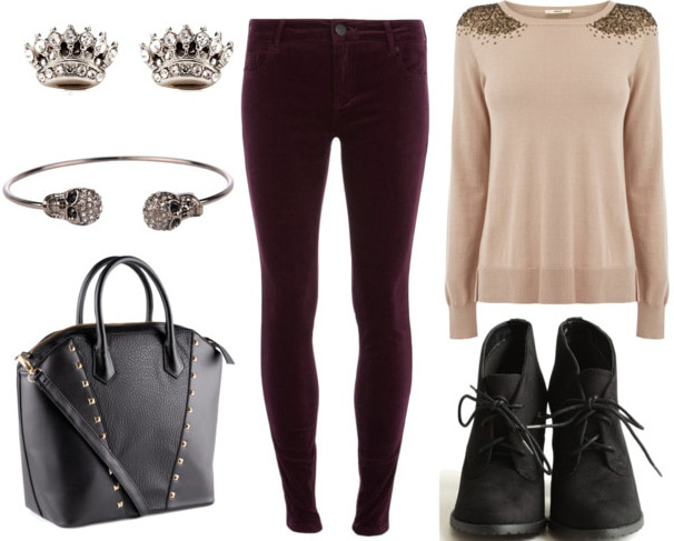 How to style plum velvet pants for day with studded sweater black booties black studded bag skull bangle crown earrings