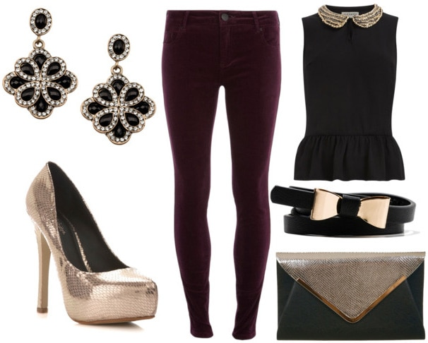 How to style plum velvet pants for night with peplum peter pan top bow waist belt metallic clutch gold pumps and retro drop earrings