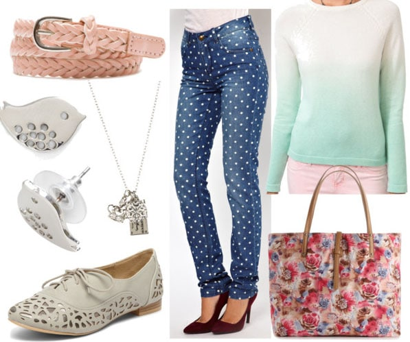How to wear polka dot jeans for day with a mint ombre sweater, gray brogues, a floral tote, a pink belt, bird studs, and a silver charm necklace