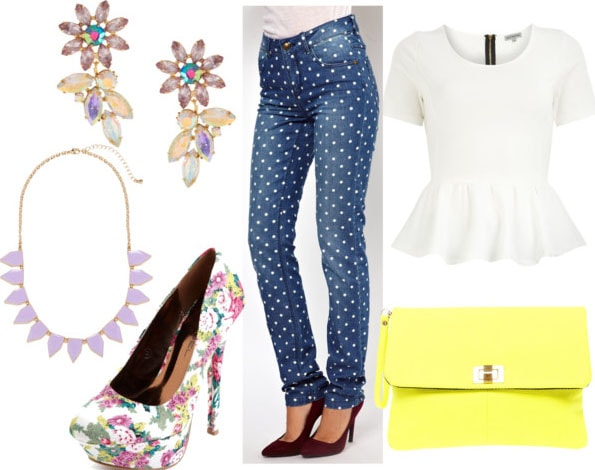 How to style polka dotted jeans for night with a white peplum top, floral pumps, a bright yellow clutch, a lilac spiked necklace, and floral crystal earrings