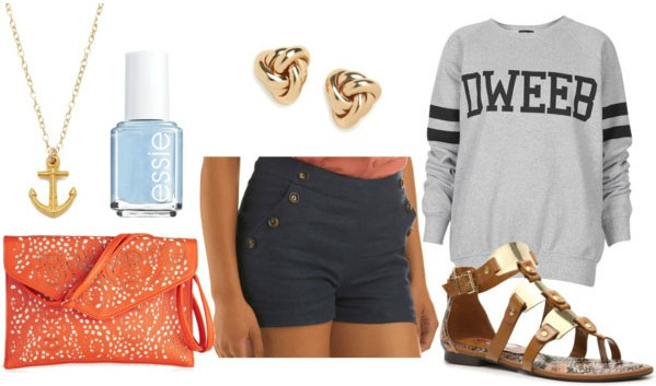 How to style sailor shorts for class with graphic sweatshirt orange patterend bag brown and gold sandals baby blue nail polish knot studs and anchor charm necklace