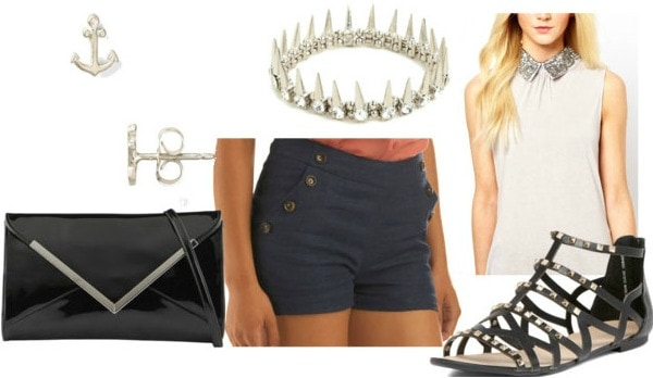 How to style sailor shorts for night with metallic lace collar top studded silver bracelet silver anchor studs black envelope clutch