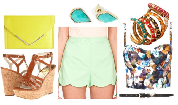 How to style scallop shorts for night with floral corset top brown strappy wedges black belt lemon clutch multi bangles and turquoise teardrop studs