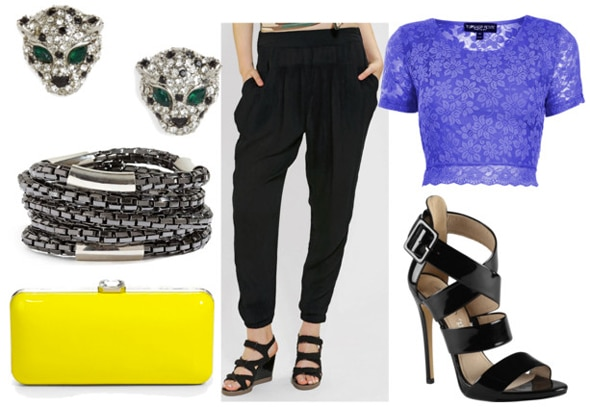How to style slouchy black pants for night