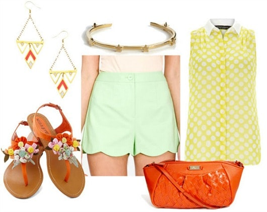 How to stype scallop shorts for day with yellow dot collared shirt orange embellished sandals orange bag geometric drop earrings and star bangle