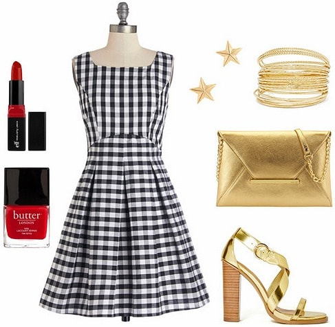 How to wear a gingham dress at night