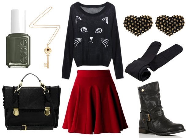 how to wear a red skater skirt for day with cat sweater black tights black combat boots heart studded earrings black satchel key necklace and green nail polish