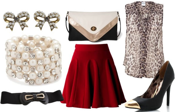 how to wear a red skater skirt for night with leopard blouse black gold heels bow belt pearl bangles bow earrings and envelope clutch