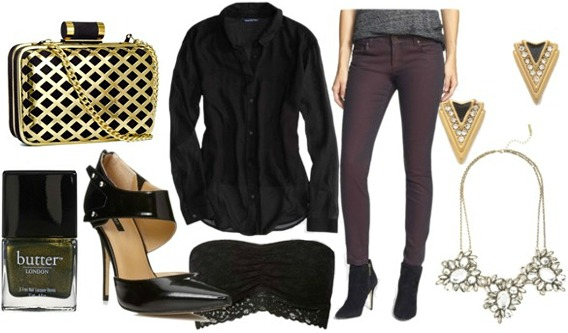 How to wear a sheer black oxford for night