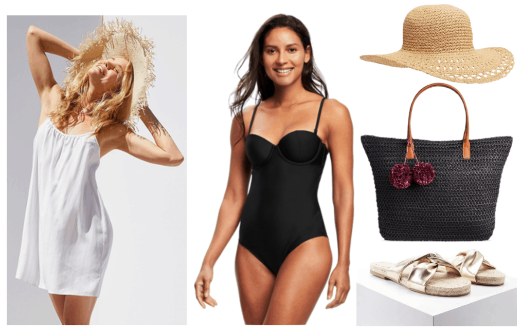 """How to Wear a Slip Dress"" Outfit #2 featuring white slip dress with thin tan vertical stripes, black balconette one-piece bathing suit, beige straw hat, black straw tote with purple pom-pom accents, gold twisted espadrille flat sandals"
