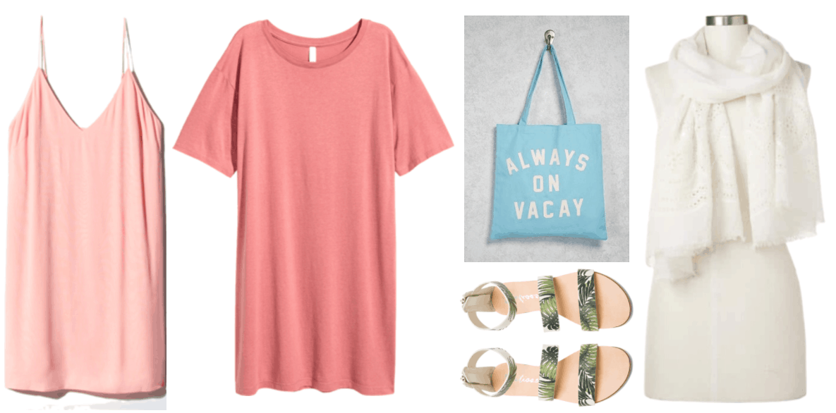 """How to Wear a Slip Dress"" Outfit #3 featuring pale pink slip dress, medium rosy-pink short-sleeved t-shirt dress, bright blue tote with ""Always on vacay"" slogan in white, green palm-printed strappy sandals, white eyelet-trimmed scarf"